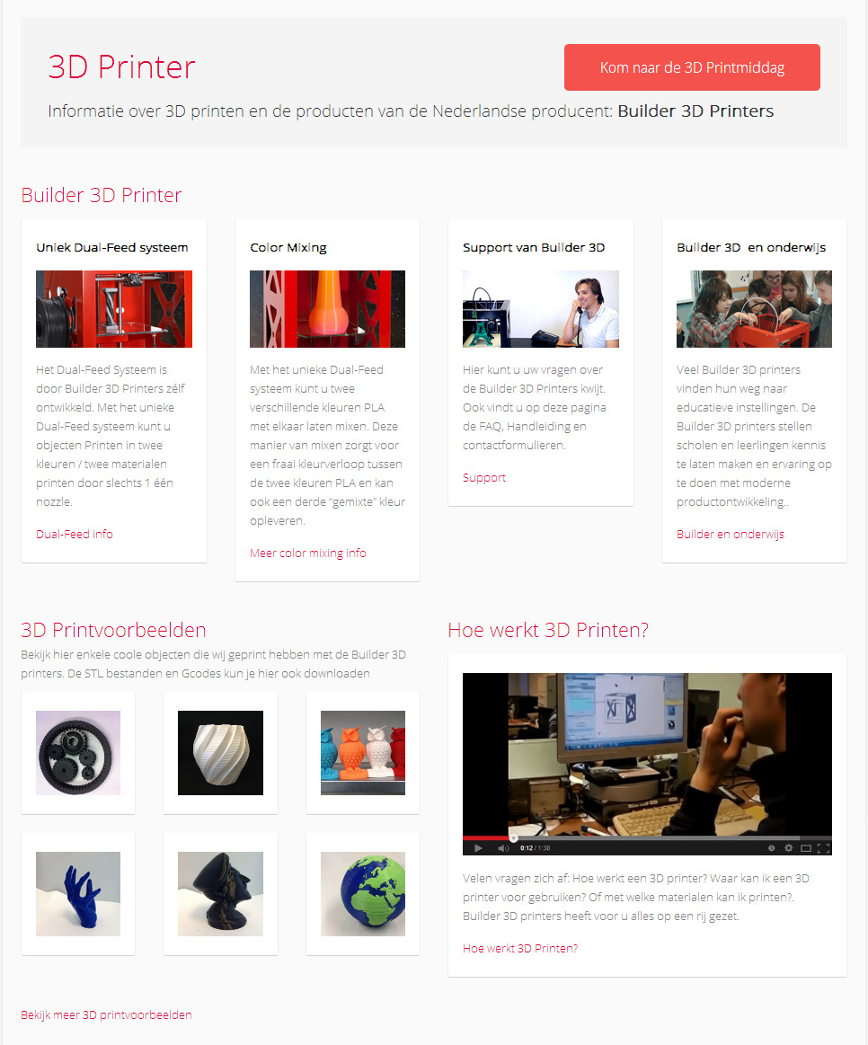 3DPrinter4U homepage content